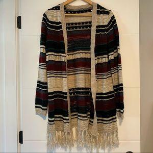 Warehouse One | Fringe Long Sleeve Open Sweater